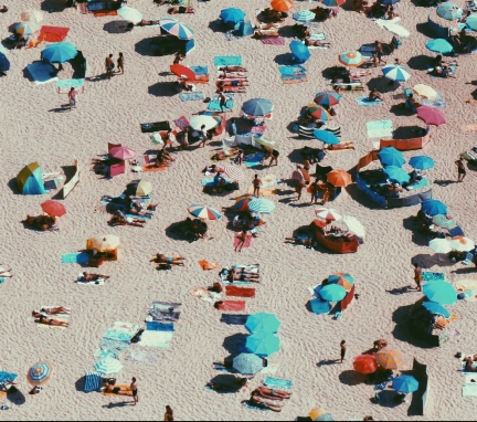 crowd of people on a beach