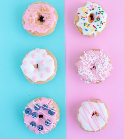 doughnuts with pink and blue accents