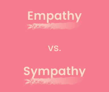 "the words ""empathy vs. sympathy"" on a pink background"
